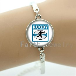 Art Easter Canada - Exquisite popular Rugby jewelry football sport art picture glass cabochon handmade bracelet casual men accessory bracelets NF028