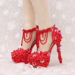 beautiful red wedding shoes NZ - New Design Ankle Strap Heels White and Red Lace Bridal Dress Shoes Beautiful Beading Straps Wedding Shoes Women Party Prom Pumps