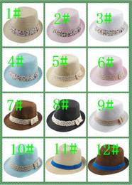 Baby Boys Straw Hats Canada - Kids Straw Fedora Hat Baby Summer Straw Cowboy Hat Boys Girls Jazz cap Straw Fedoras Baby Strawhat mix 3 style 13 color 20pcs lot