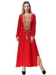 Wholesale New Arrival Plus Size Muslim Women Long Sleeve Maxi Dress Islamic Embroidery Kaftan Caftan Dress S XL