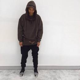 Hba Hoodie online shopping - NEW TOP Kanye West SEASON oversized pullover hoodie black Brown hiphop HBA MEN Extended Middle Zip Sweatshirt