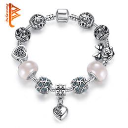 $enCountryForm.capitalKeyWord NZ - BELAWANG Silver Heart Charm Bracelets for Women With Murano Crystal Glass Bead Butterfly Bead Bracelet Original Jewelry Christmas Gift