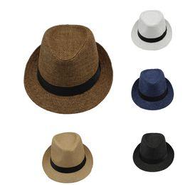 Straw Jazz Hat Women Canada - New Men Women Straw Hats Jazz Caps Belt Summer Beach Sun Hats Fedora Caps Unisex whosale GH-1