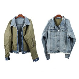 Justin bieber Jackets online shopping - 2018 TOP winter best version Justin Bieber OVERSIZE Men Old Wear Hole Double sided jacket hiphop Fashion Denim jackets Coat M XL