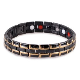 China Hot Black IP Gold Man Health Care Bracelet Stainless Steel Elements Magnetic Unisex Love Bracelets Bangles Pulseira Masculina Charm Jewelry suppliers