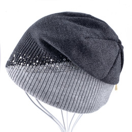 cashmere beanies for women Australia - Ladies Rhinestones Knitted Hat Skullies Women Beanies Cap Girls Winter Beanies Hats For Women Solid Warm Caps Gorros Bonnet