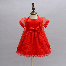 $enCountryForm.capitalKeyWord Canada - 2Pcs set Baby Girl Baptism Dress Red Infant Princess Dresses For Formal Occasion 1 Year Birthday Dress for Baby Ceremonial Garb