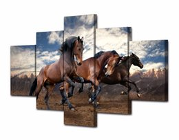 hd painting horse run Australia - 5 Pcs Set HD Printed Animals running horse 5 piece picture painting wall art Canvas Print room decor poster canvas classic oil painting