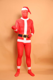 full body costumes for halloween Australia - Santa Claus Pattern Lycra Spandex Bodysuit Full Body Zentai Suit Halloween Costume Fetish Zentai Suits For Party S M L XL XXL