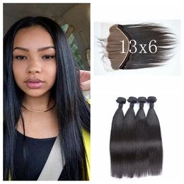 Dhl hair peruvian straight online shopping - 13x6 Lace Frontal Closure With Bundles Top Grade Brazilian Virgin Straight Human Hair No Sheddng No Tangle G EASY Hair DHL FREE