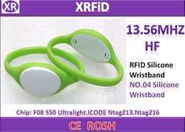 Rfid Print Canada - ABS+silicon RFID wristband ISO14443A Colorful rfid ntag213 silicone wristband free DHL Blank Printing