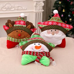 cheap wholesale new 2017 christmas ornament santa claus five pointed pillow elk christmas decorations pillow for home decoration
