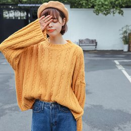 New Women Autumn Long Sleeve Thick Sweater Korean Institute Wind Cute Round  Neck Loose Pullovers Sweaters Female Jumpers c708ab8e6
