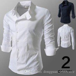 Barato Nice Man Camisa Magro-Nice Pop Tide New Brand Men Camisas de manga comprida Casacos masculinos casuais Solid White / Dark Blue Slim Fit Clothes Fashion