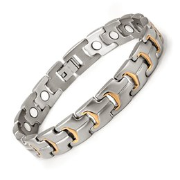 Man Chain Silver Gold NZ - Gold Plated Healing Magnetic Bracelet Men 316L Stainless Steel Magnetic Health Care Elements Gold Bracelet Hand Chain OSB-738SG