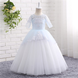 Barato Preços Do Vestido De Casamento Por Atacado-Cheap Short Sleeve Lace Appliques Long Flower Girl Dresses Princess Girls dress For Wedding Wholesale Price