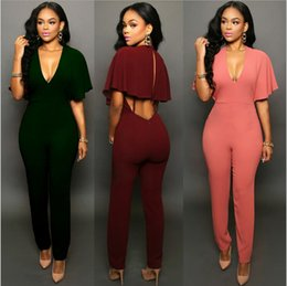 Barato Ropa Casual Sexy-Casual Mulheres Piece Pants One Piece Jumpsuits manga curta Bodycon atrás Zipper Long Pants Mulher Sexy One Piece Outfits Rompers Ropa Mujer