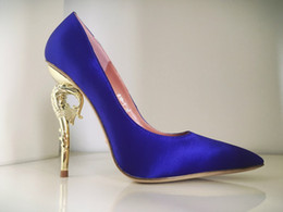 Collections Shoes Canada - Ralph & Russo Haute Couture Collection SHOES blue satin party PUMPS EMERALD SATIN WITH YELLOW GOLD HEEL Wedding Shoes for Modern Brides