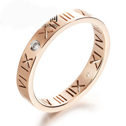 Roman Numerals Ring Wholesale Canada - Rose Gold Personalized Rings Engraved Roman Numerals Titanium Steel Rings With Rhinestone Fashion Fine Jewelry For Women