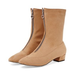Black Blocks Canada - Women's Shoes Girl's Faux Suede Block Low Heel Zip Pointed Toes Mid-Calf Boots B724 US Size 4 -10.5 Black Beige Brown