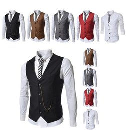 $enCountryForm.capitalKeyWord UK - Formal Men's Waistcoat 2017 New Arrival Fashion Groom Tuxedos Wear Bridegroom Vests Casual Slim Vest Custom Made With Chain