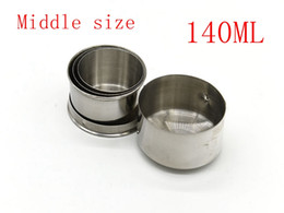 hiking collapsible cup 2019 - 50pcs lot 140ml Stainless Steel Folding Cup Traveling Outdoor Camping Hiking Mug Portable Collapsible Foldable Cup cheap