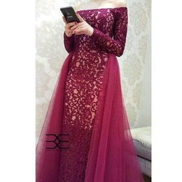 Dress Tulle Tail NZ - 2019 Long Sleeves off shoulder Wine Red Lace With Tulle Tail Evening Dresses Women's Birthday Wear V-Neck Maxi floor length prom gowns