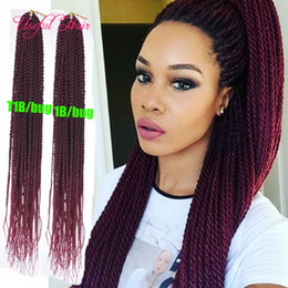 "brazilian twist hair UK - dropshipping 18"" senegalese pre-loop synthetic braiding hair crochet hair extensions burgundy color brazilian braiding hair bouncy twist"