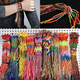 $enCountryForm.capitalKeyWord Canada - 50pcs lot Wholesale Rainbow Silk Macrame Hand-weave Braid Friendship Cords Strand Bracelet Anklets