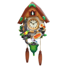 Sky Blue Curtains UK - Crafts Arts Home decoration Cuckoo clock cartoon clock mute children bedroom living room wall cute bird