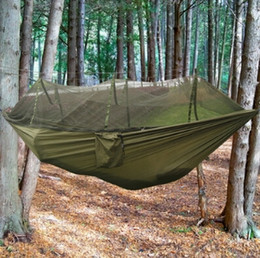 camp bedding NZ - New Four Color Outdoor Portable High Strength Parachute Fabric Camping Hammock Hanging Bed With Mosquito Net