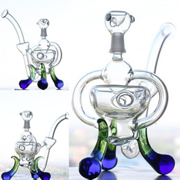 pipe supports NZ - 21cm Tall Colorful Glass Bongs Creative Triple Support 14.4mm Joint Recycler Oil Rigs Glass Bong Water Pipes Hanblown In Stock Cheap Hookahs