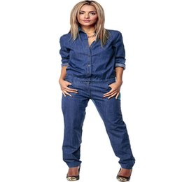 Barato Manga Longa Denim-Atacado- Moda Chic Womens Romper Denim Jeans Casual Luva longa Global Loose Pants Jumpsuit Loose Romper