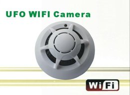 Discount ufo smoke detector camera Hot Sale Wireless UFO WIFI Camera STK3350 Wifi Smoke Detector Camera with P2P Function IP Camera for iphone smart phone