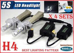 $enCountryForm.capitalKeyWord Australia - Fast 4 Sets H4 9003 HB2 50W 5000LM 5S 5th LED Headlight Kit LUMILED LUXEON ZES CHIPS 12SMD High Low Beam Fanless Aluminum Belt Driving Lamp