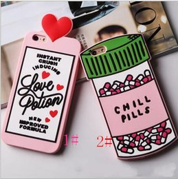 3d Phones Case Cover Canada - 3D Love Potion phone case 3D Chill Pills Bottle Soft Silicone Cover Case For Apples iPhone 6s Plus 6 Plus 7 7plus Phone Cases Shell Bag