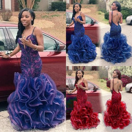 Barato Laço De Organza De Marinha De Vestido-2016 Sexy Black Girl Mermaid Prom Dresses Backless Navy Blue Lace Red Party Long Evening Gowns Ruffles baratos Sweet 16 Pageant Arabic Dubai