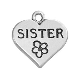 "China Fashion style 50pcs a lot antique silver plated word ""SiSTER"" AND flower heart-shaped charms pendants for bracelets suppliers"