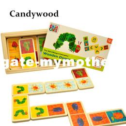 Domino Blocks NZ - Eric Carle The Very Hungry Caterpillar Domino Set Wooden Classic Desktop Dominoes Game Kids Blocks Educational Toy