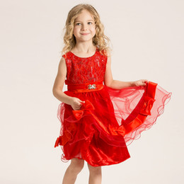 Chinese  EMS DHL Free Girl Dress The Children Clothes New Pendulum Girls Dress Lace Gauze Ball Gown Children Summer Party Kids Dresses 2016 manufacturers