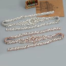 Full Length Rhinestones Appliques Sewing On Wedding Dresses Belt Sashes  Rose Gold Silver Crystal DIY Bridal Accessory YS840 36580ac2a33a