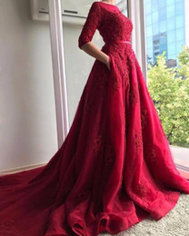 Barato Vestidos De Noite-2018 New Elegant Burgundy Half Sleeves Evening Dresses Com Bolsos Lace Appliques Prom Dresses Party Wear Sweep Train