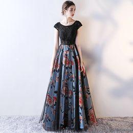 b6d7befa8a Scoop A-Line Manga Comprida Rendas Vestidos de Noite Longos Vestidos  Formais Preto com Flor de Impressão Aberto de Volta Vestidos de Baile