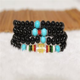 $enCountryForm.capitalKeyWord Canada - Chinese Multi Circle Natural Black Agate Bracelet 108 Beads Jewelry Multilayer Obsidian Crystal Hand String Six Words