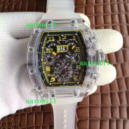 514de2251e6 Hombres de lujo Relojes de pulsera mecánicos Plexiglás transparente ETA  7750 Cronógrafo automático RM011 Correa de