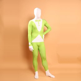 sexy green catsuit 2018 - Superhero Green Arrow Cosplay Lycra Costume Halloween Green and White Suit Pattern Spandex Zentai Bodysuit cheap sexy gr