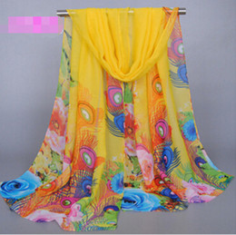 $enCountryForm.capitalKeyWord NZ - Fashion Peacock Feather Scarf Woman Sunscreen Scarves Peacock Feather Printing Chiffon Scarf Printing Hijab Women's Scarves MOQ 30 pcs