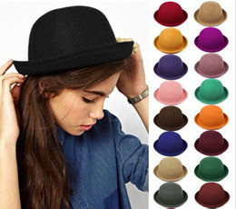 wholesale plain cloche hats Canada - New Arrivals Women Lady Men Vintage Trendy Wool Felt Cloche Derby Bowler Stingy Brim Hats Cap Free Shipping