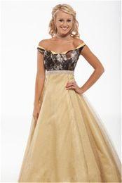 $enCountryForm.capitalKeyWord Australia - Gold and Camo Wedding Dresses 2016 Robe De Mariage Sexy Off Shoulder Sash back Corset Cheap Bridal Gowns Custom Made