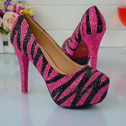 $enCountryForm.capitalKeyWord NZ - Zebra Crystal Closed Toe Party Shoes High Heel For Lady Round Toe Silver and Black Rhinestone Wedding Bridal Shoes Evening Pumps